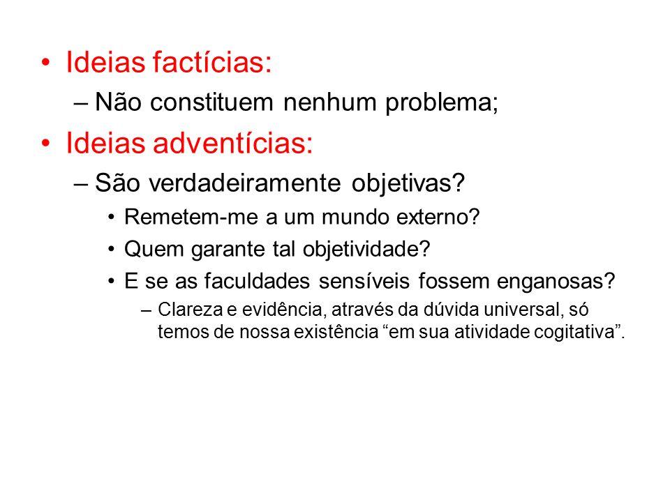 Ideias factícias: –Não constituem nenhum problema; Ideias adventícias: –São verdadeiramente objetivas.