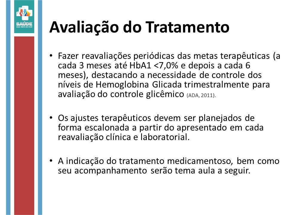 Avaliação do Tratamento Fazer reavaliações periódicas das metas terapêuticas (a cada 3 meses até HbA1 <7,0% e depois a cada 6 meses), destacando a necessidade de controle dos níveis de Hemoglobina Glicada trimestralmente para avaliação do controle glicêmico (ADA, 2011).