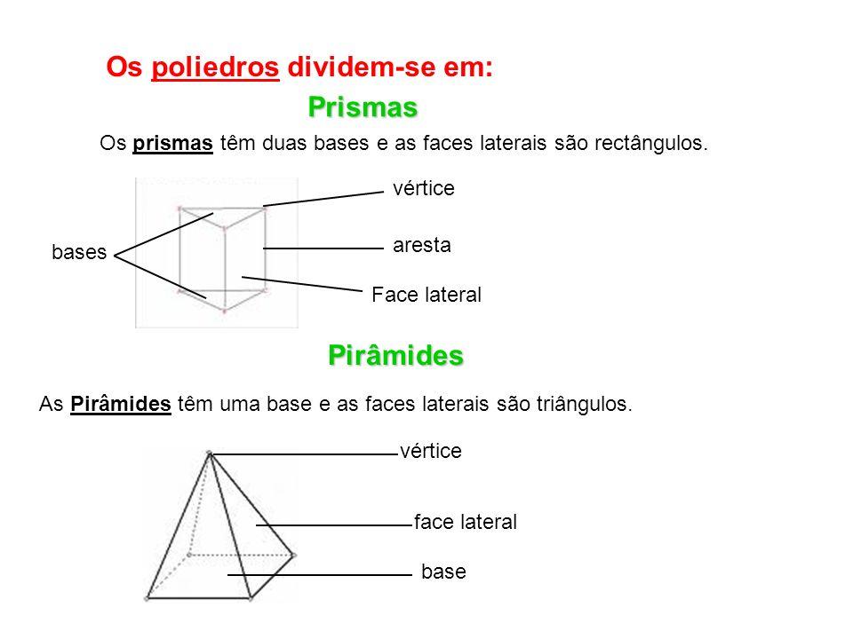 Os poliedros dividem-se em: Prismas Os prismas têm duas bases e as faces laterais são rectângulos.