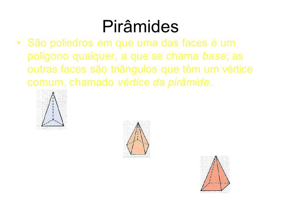 Pirâmides São poliedros em que uma das faces é um polígono qualquer, a que se chama base; as outras faces são triângulos que têm um vértice comum, chamado vértice da pirâmide.