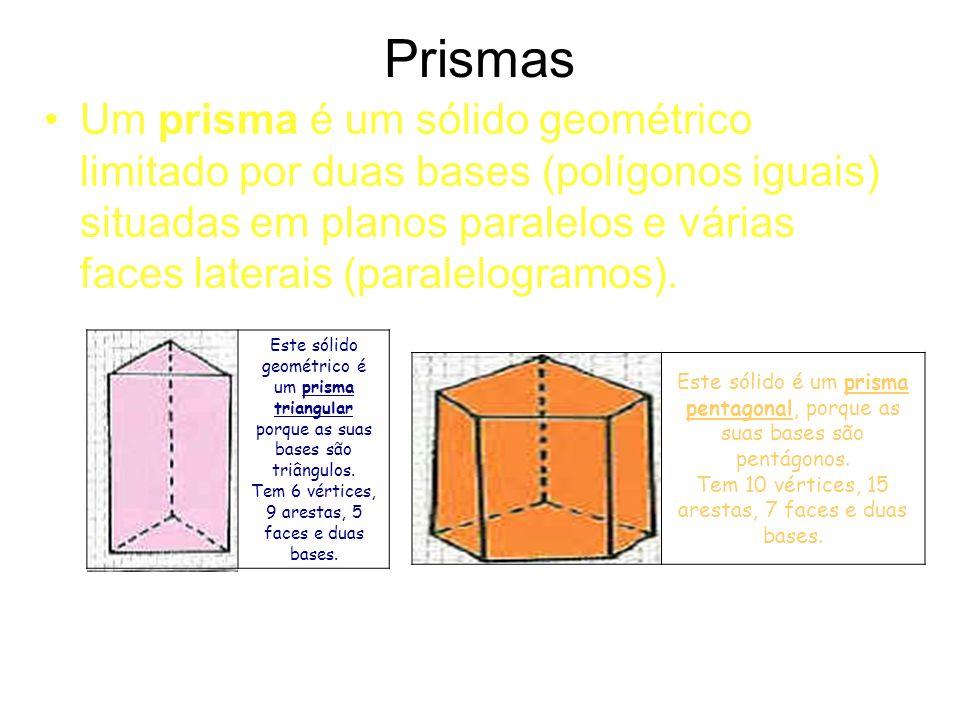 Prismas Um prisma é um sólido geométrico limitado por duas bases (polígonos iguais) situadas em planos paralelos e várias faces laterais (paralelogramos).