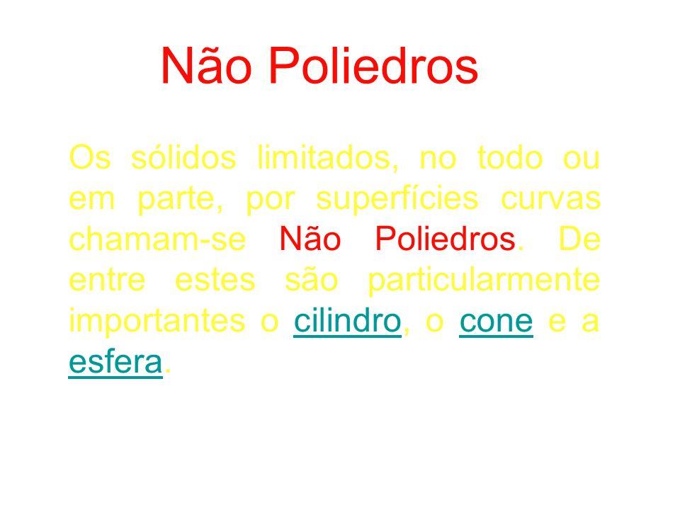 Os sólidos limitados, no todo ou em parte, por superfícies curvas chamam-se Não Poliedros.