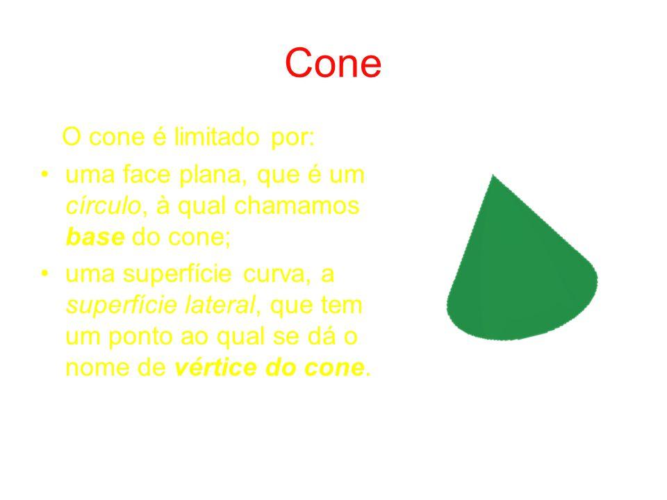 Cone O cone é limitado por: uma face plana, que é um círculo, à qual chamamos base do cone; uma superfície curva, a superfície lateral, que tem um ponto ao qual se dá o nome de vértice do cone.