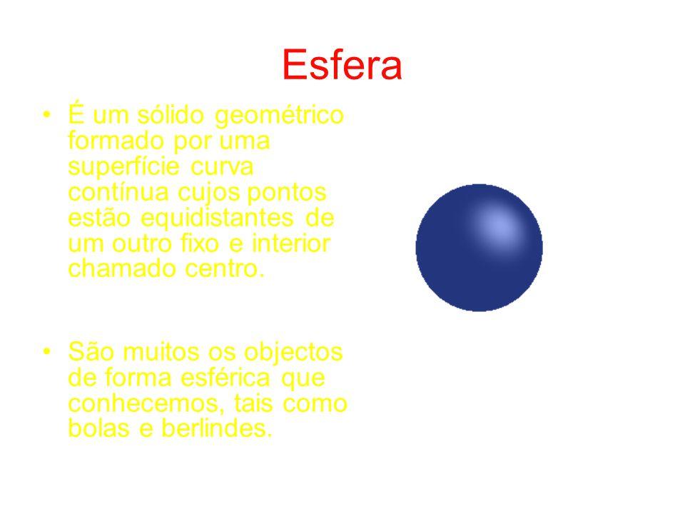 Esfera É um sólido geométrico formado por uma superfície curva contínua cujos pontos estão equidistantes de um outro fixo e interior chamado centro.