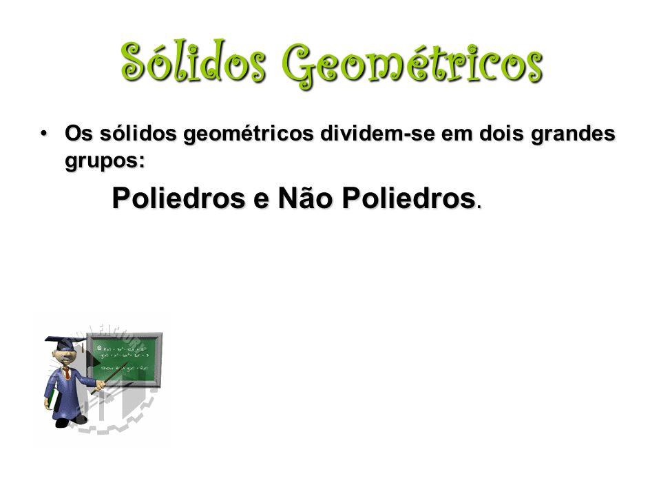 Os sólidos geométricos dividem-se em dois grandes grupos:Os sólidos geométricos dividem-se em dois grandes grupos: Poliedros e Não Poliedros.