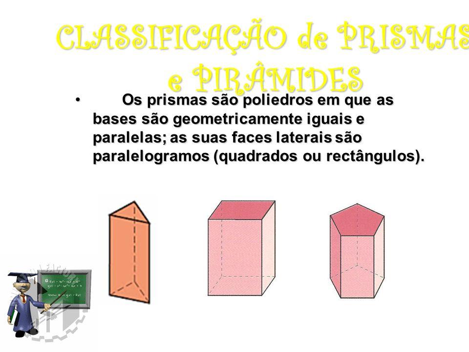 CLASSIFICAÇÃO de PRISMAS e PIRÂMIDES Os prismas são poliedros em que as bases são geometricamente iguais e paralelas; as suas faces laterais são paralelogramos (quadrados ou rectângulos).Os prismas são poliedros em que as bases são geometricamente iguais e paralelas; as suas faces laterais são paralelogramos (quadrados ou rectângulos).