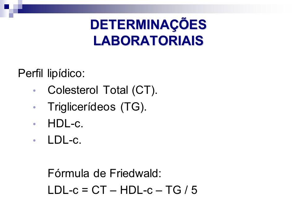 DETERMINAÇÕES LABORATORIAIS Perfil lipídico: Colesterol Total (CT). Triglicerídeos (TG). HDL-c. LDL-c. Fórmula de Friedwald: LDL-c = CT – HDL-c – TG /