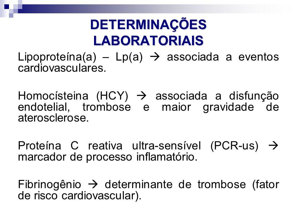 DETERMINAÇÕES LABORATORIAIS Lipoproteína(a) – Lp(a)  associada a eventos cardiovasculares. Homocísteina (HCY)  associada a disfunção endotelial, tro