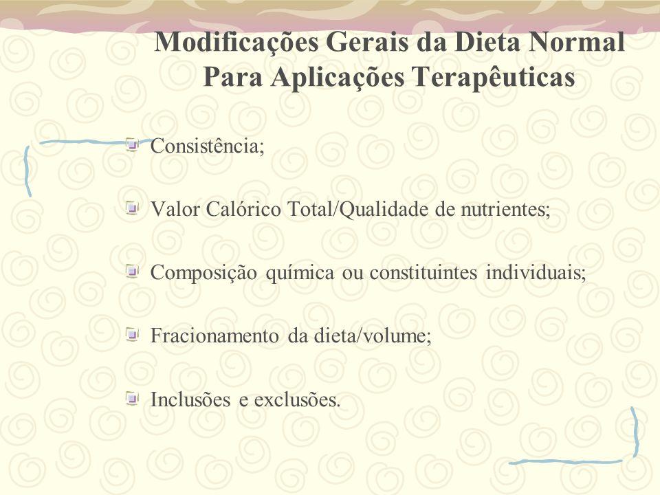 Modificações Gerais da Dieta Normal Para Aplicações Terapêuticas Consistência; Valor Calórico Total/Qualidade de nutrientes; Composição química ou constituintes individuais; Fracionamento da dieta/volume; Inclusões e exclusões.