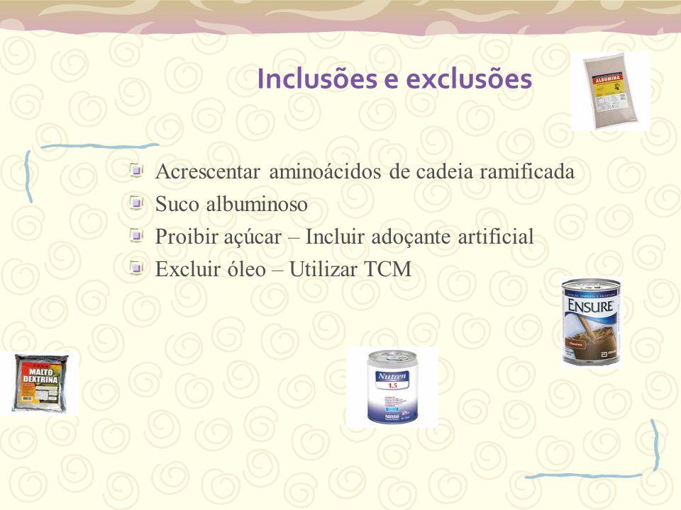 Inclusões e exclusões Acrescentar aminoácidos de cadeia ramificada Suco albuminoso Proibir açúcar – Incluir adoçante artificial Excluir óleo – Utiliza