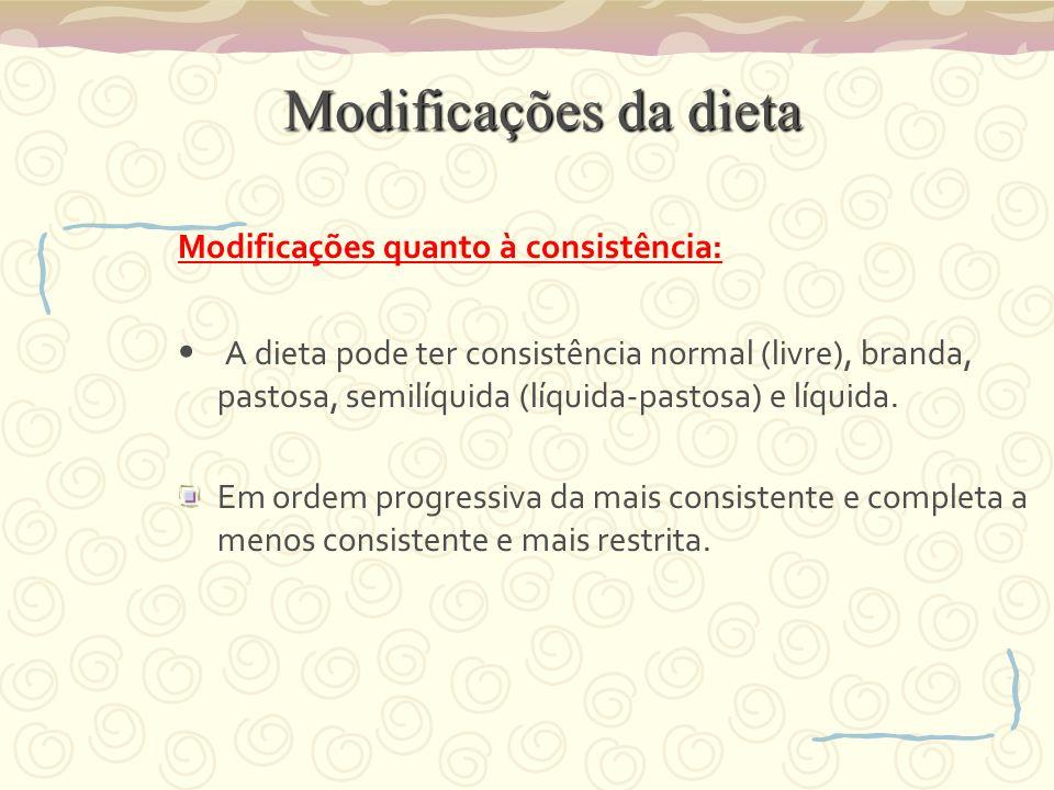 Modificações da dieta Modificações da dieta Modificações quanto à consistência: A dieta pode ter consistência normal (livre), branda, pastosa, semilíquida (líquida-pastosa) e líquida.
