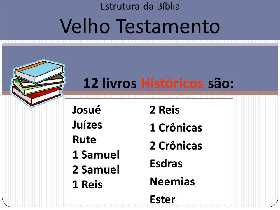12 livros Históricos são: Estrutura da Bíblia Velho Testamento 2 Reis 1 Crônicas 2 Crônicas Esdras Neemias Ester Josué Juízes Rute 1 Samuel 2 Samuel 1 Reis