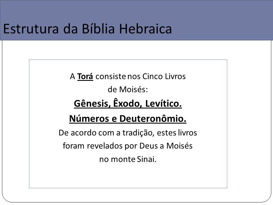 Estrutura da Bíblia Hebraica A Torá consiste nos Cinco Livros de Moisés: Gênesis, Êxodo, Levítico.