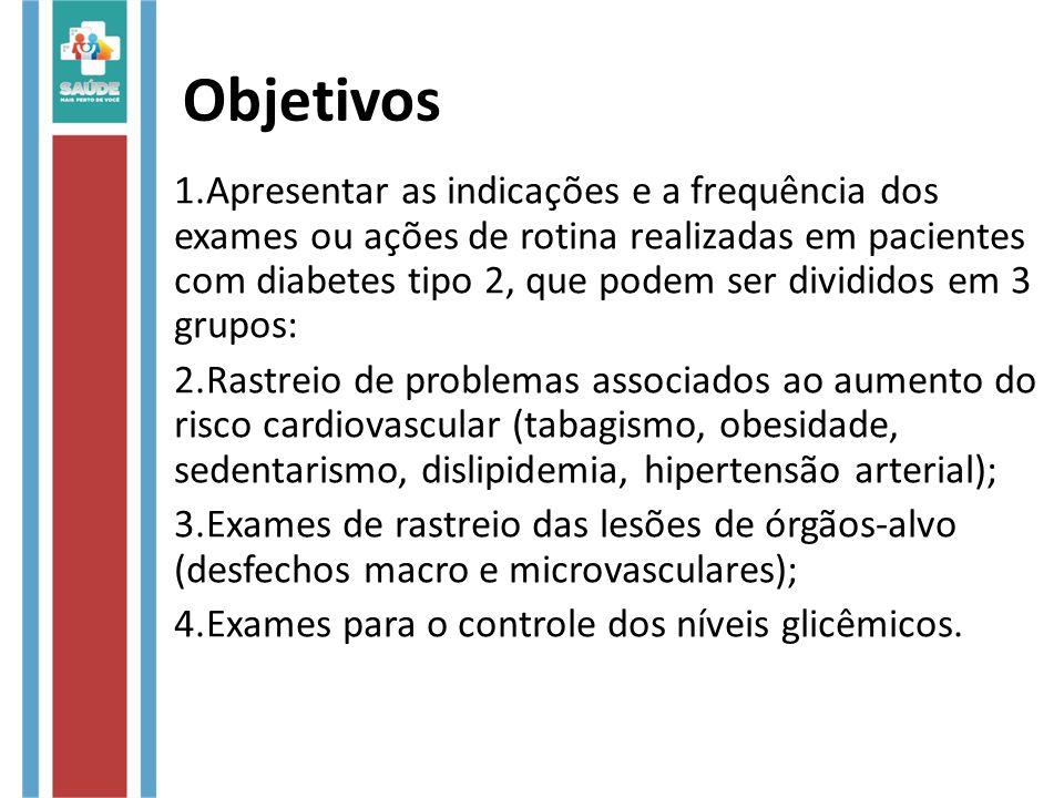 Objetivos 1.Apresentar as indicações e a frequência dos exames ou ações de rotina realizadas em pacientes com diabetes tipo 2, que podem ser divididos