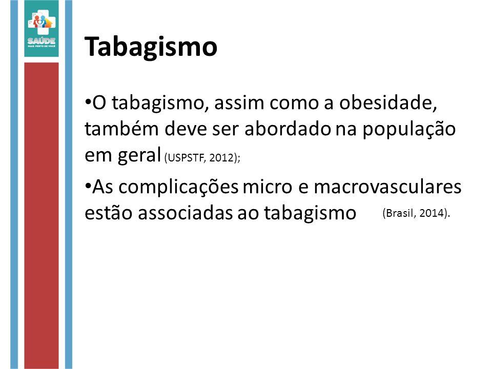 Tabagismo O tabagismo, assim como a obesidade, também deve ser abordado na população em geral (USPSTF, 2012); As complicações micro e macrovasculares