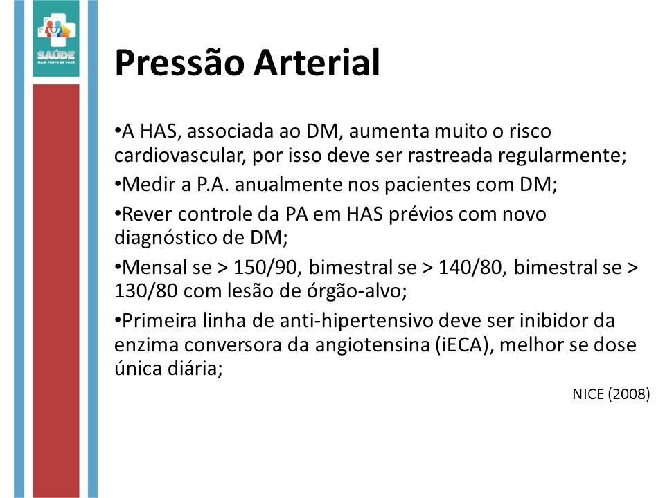 Pressão Arterial A HAS, associada ao DM, aumenta muito o risco cardiovascular, por isso deve ser rastreada regularmente; Medir a P.A. anualmente nos p