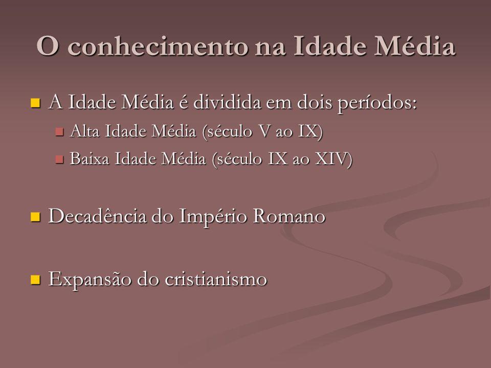O conhecimento na Idade Média A Idade Média é dividida em dois períodos: A Idade Média é dividida em dois períodos: Alta Idade Média (século V ao IX)