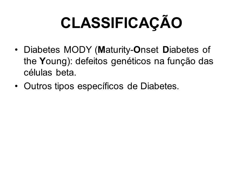 CLASSIFICAÇÃO Diabetes MODY (Maturity-Onset Diabetes of the Young): defeitos genéticos na função das células beta.