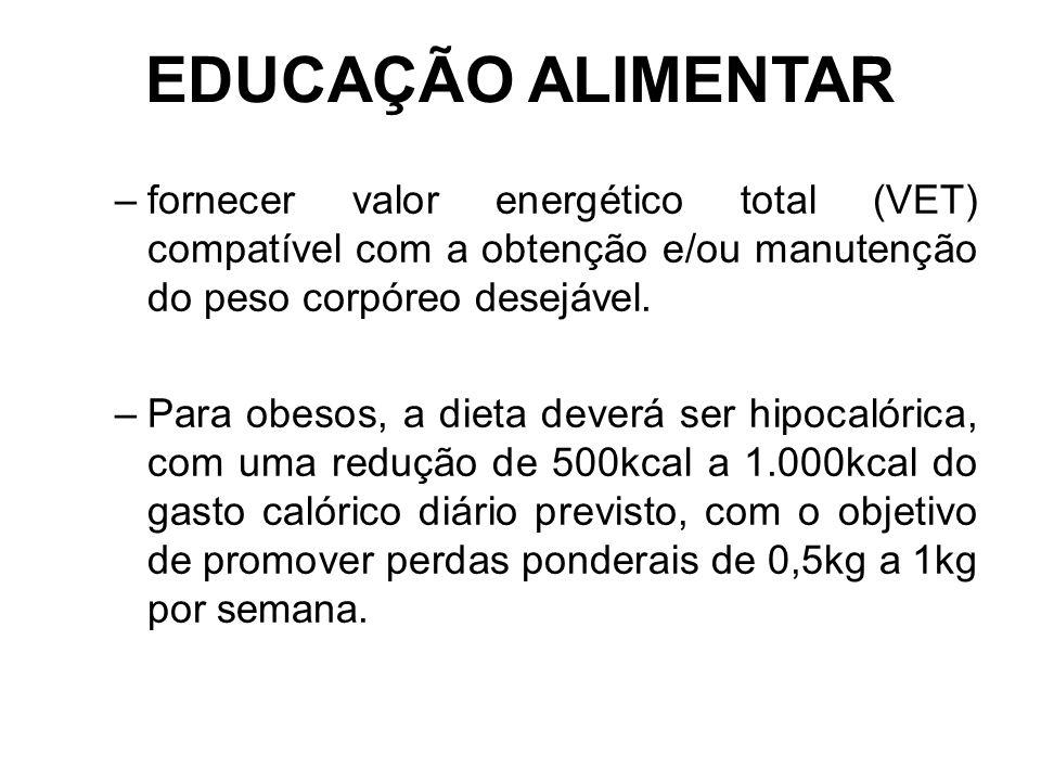 EDUCAÇÃO ALIMENTAR –fornecer valor energético total (VET) compatível com a obtenção e/ou manutenção do peso corpóreo desejável.