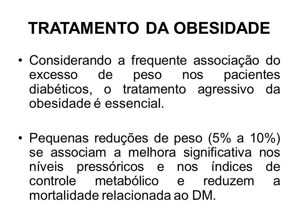 TRATAMENTO DA OBESIDADE Considerando a frequente associação do excesso de peso nos pacientes diabéticos, o tratamento agressivo da obesidade é essencial.