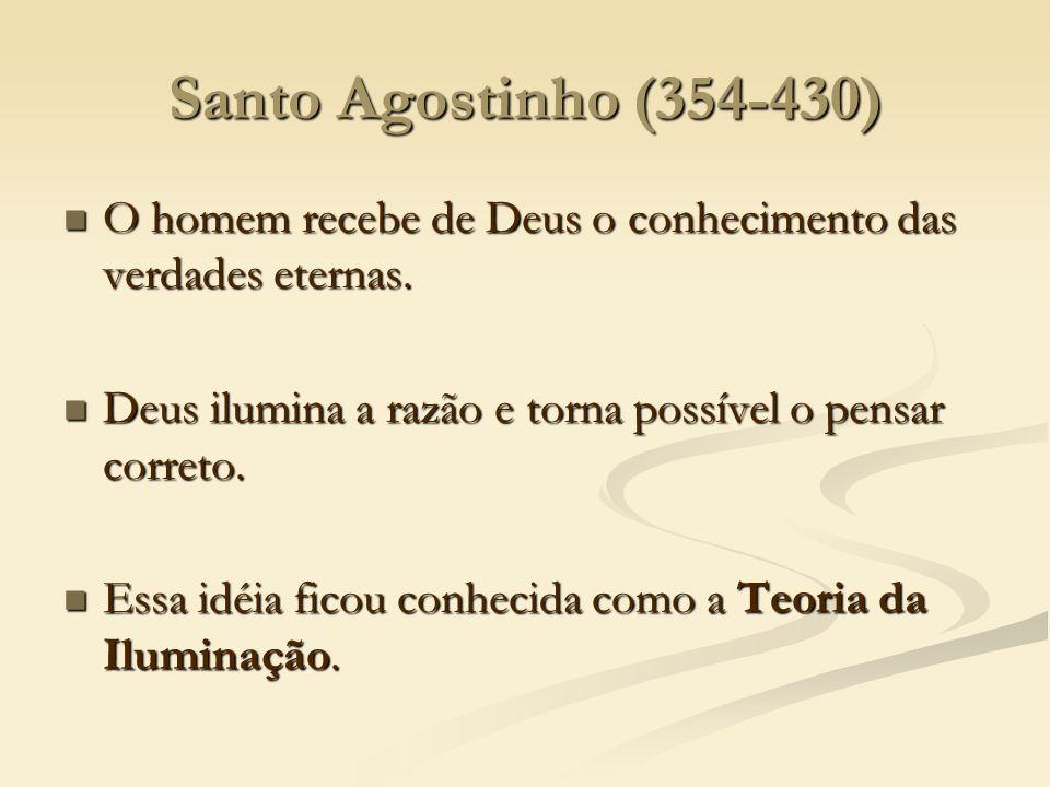 Santo Agostinho (354-430) O homem recebe de Deus o conhecimento das verdades eternas. O homem recebe de Deus o conhecimento das verdades eternas. Deus