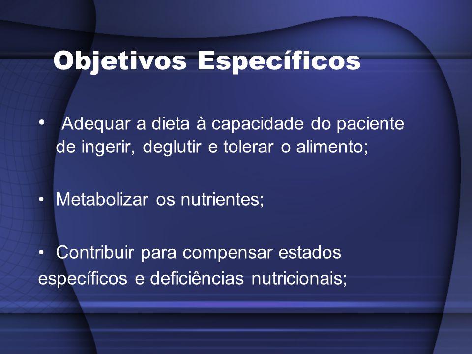 Objetivos Específicos Adequar a dieta à capacidade do paciente de ingerir, deglutir e tolerar o alimento; Metabolizar os nutrientes; Contribuir para c