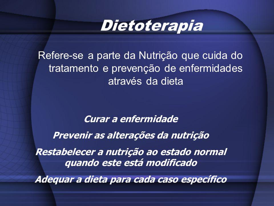 Dietoterapia Refere-se a parte da Nutrição que cuida do tratamento e prevenção de enfermidades através da dieta Curar a enfermidade Prevenir as altera