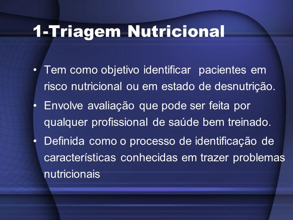 1-Triagem Nutricional Tem como objetivo identificar pacientes em risco nutricional ou em estado de desnutrição. Envolve avaliação que pode ser feita p
