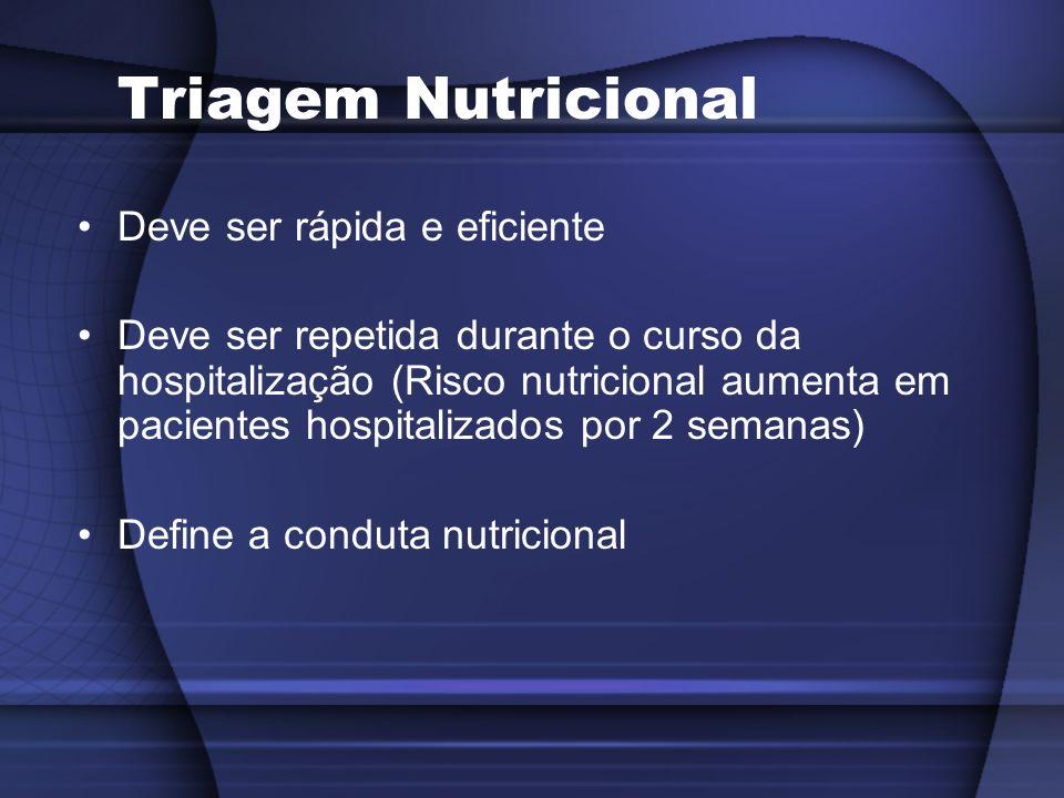 Triagem Nutricional Deve ser rápida e eficiente Deve ser repetida durante o curso da hospitalização (Risco nutricional aumenta em pacientes hospitaliz