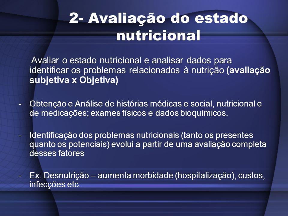 2- Avaliação do estado nutricional Avaliar o estado nutricional e analisar dados para identificar os problemas relacionados à nutrição (avaliação subj