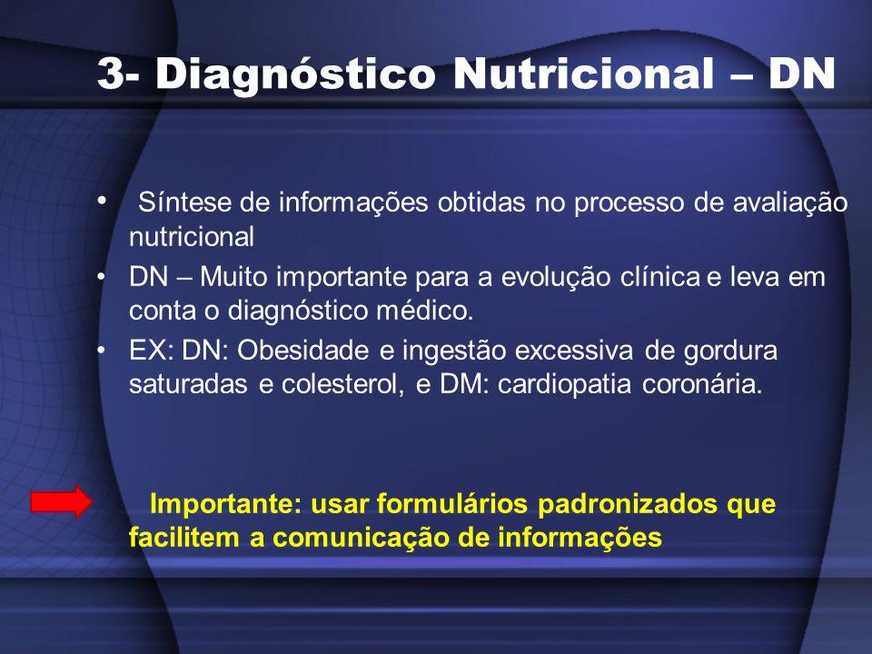 3- Diagnóstico Nutricional – DN Síntese de informações obtidas no processo de avaliação nutricional DN – Muito importante para a evolução clínica e le