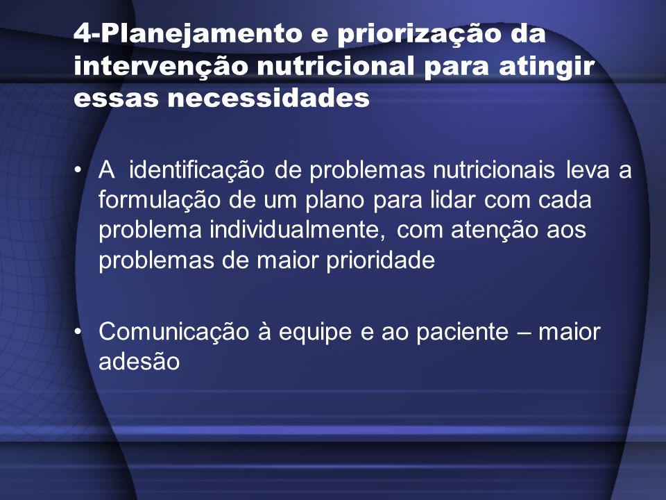 4-Planejamento e priorização da intervenção nutricional para atingir essas necessidades A identificação de problemas nutricionais leva a formulação de