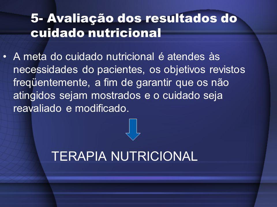 5- Avaliação dos resultados do cuidado nutricional A meta do cuidado nutricional é atendes às necessidades do pacientes, os objetivos revistos freqüen