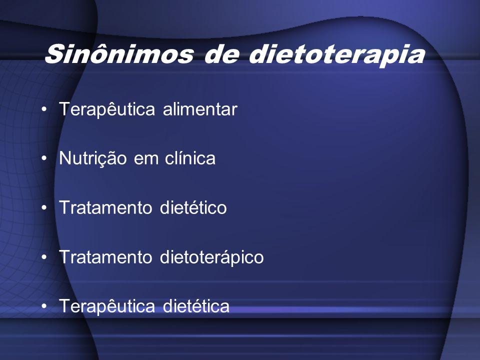 Sinônimos de dietoterapia Terapêutica alimentar Nutrição em clínica Tratamento dietético Tratamento dietoterápico Terapêutica dietética