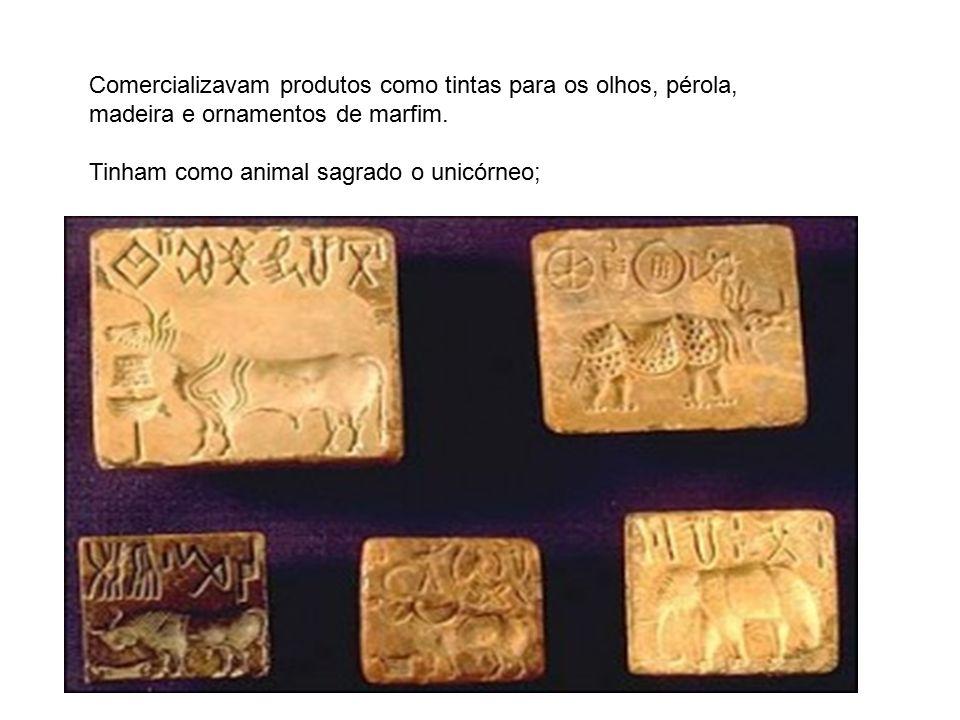 Comercializavam produtos como tintas para os olhos, pérola, madeira e ornamentos de marfim. Tinham como animal sagrado o unicórneo;
