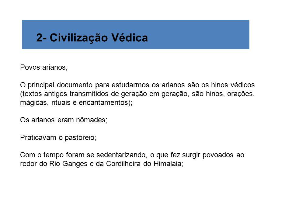 2- Civilização Védica Povos arianos; O principal documento para estudarmos os arianos são os hinos védicos (textos antigos transmitidos de geração em