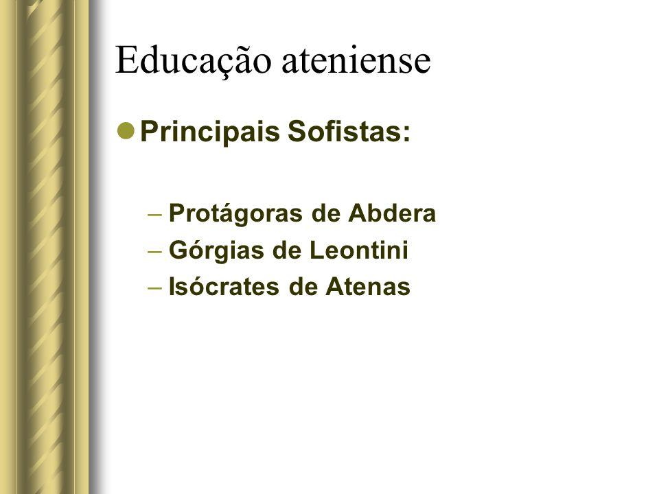 Educação ateniense Principais Sofistas: –Protágoras de Abdera –Górgias de Leontini –Isócrates de Atenas