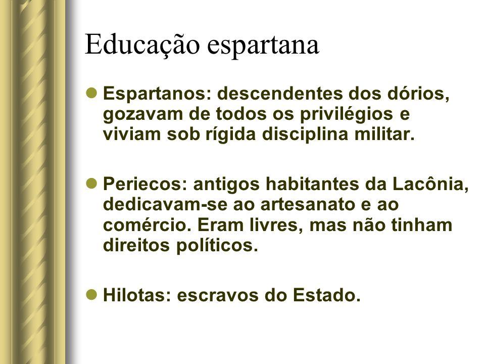 Educação espartana Espartanos: descendentes dos dórios, gozavam de todos os privilégios e viviam sob rígida disciplina militar. Periecos: antigos habi