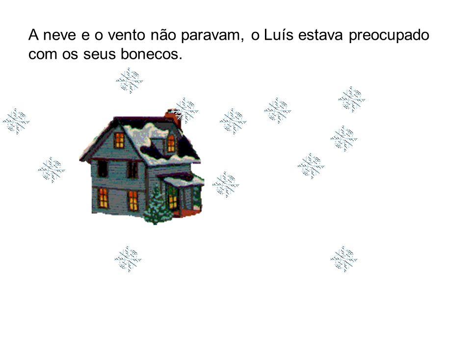 A neve e o vento não paravam, o Luís estava preocupado com os seus bonecos.