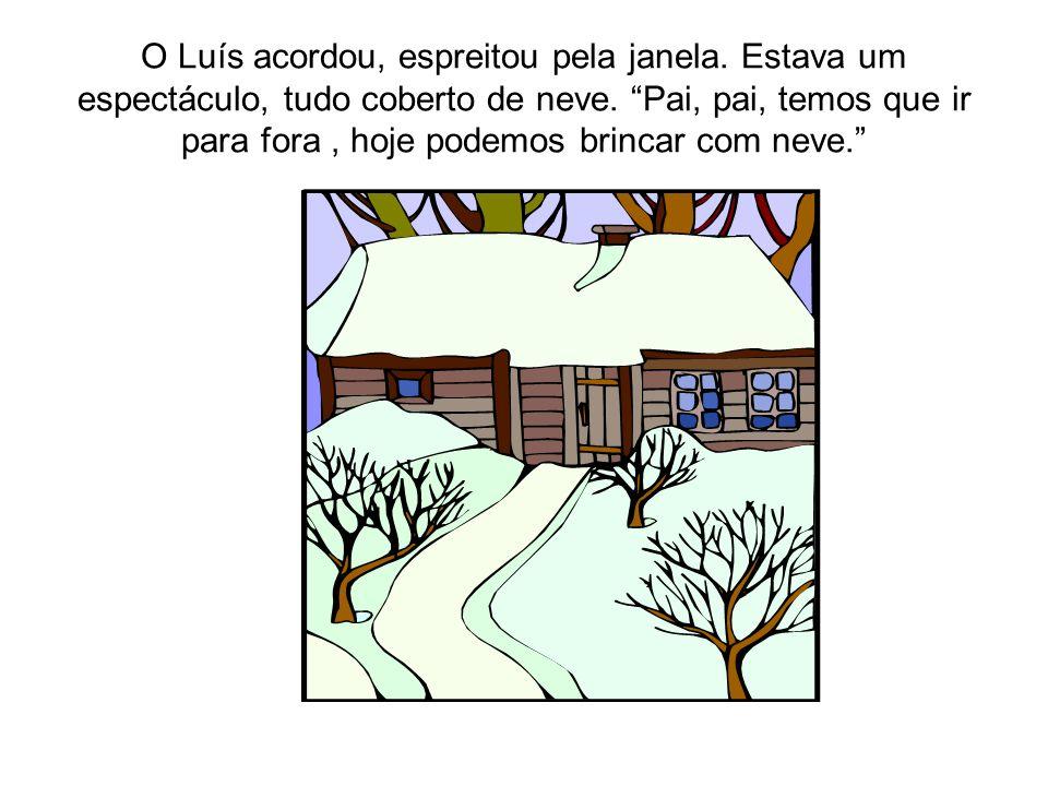 O Luís acordou, espreitou pela janela. Estava um espectáculo, tudo coberto de neve.