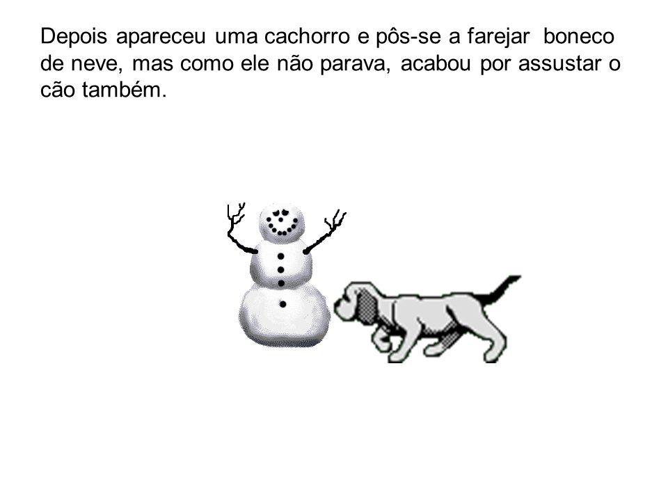 Depois apareceu uma cachorro e pôs-se a farejar boneco de neve, mas como ele não parava, acabou por assustar o cão também.
