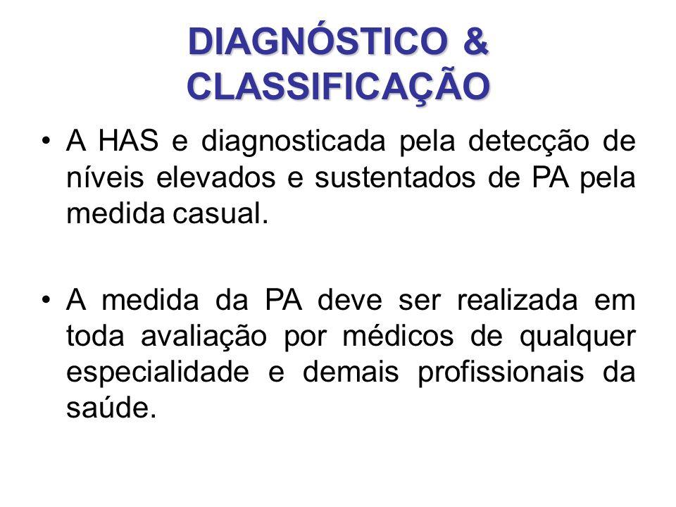 DIAGNÓSTICO & CLASSIFICAÇÃO A HAS e diagnosticada pela detecção de níveis elevados e sustentados de PA pela medida casual.