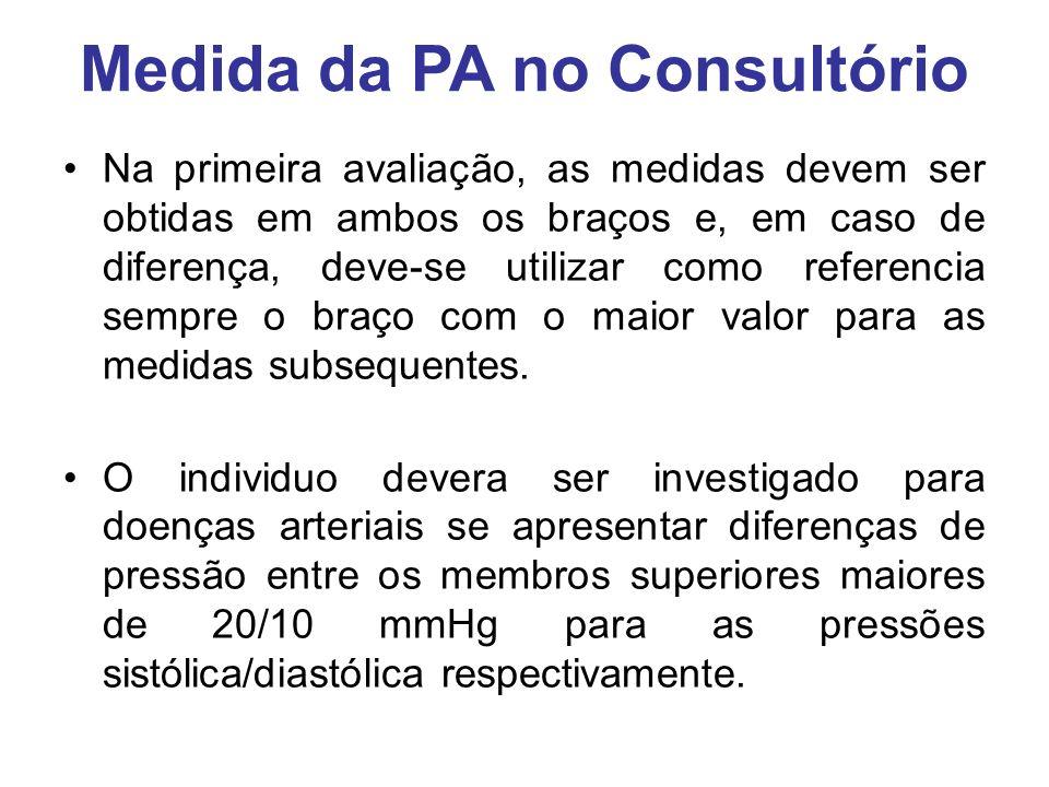 Medida da PA no Consultório Na primeira avaliação, as medidas devem ser obtidas em ambos os braços e, em caso de diferença, deve-se utilizar como referencia sempre o braço com o maior valor para as medidas subsequentes.