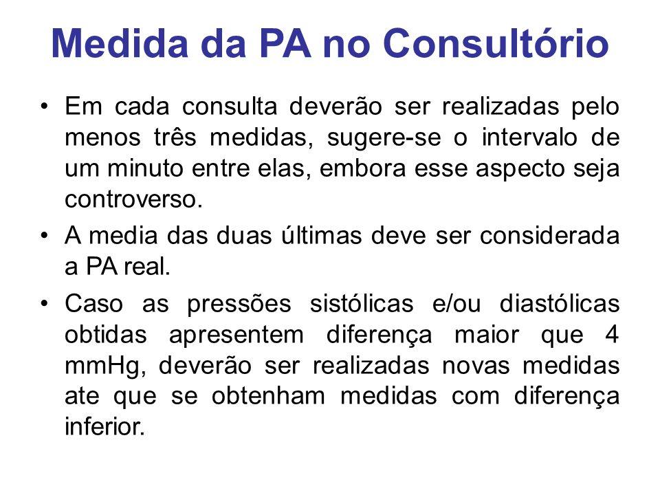 Medida da PA no Consultório Em cada consulta deverão ser realizadas pelo menos três medidas, sugere-se o intervalo de um minuto entre elas, embora esse aspecto seja controverso.