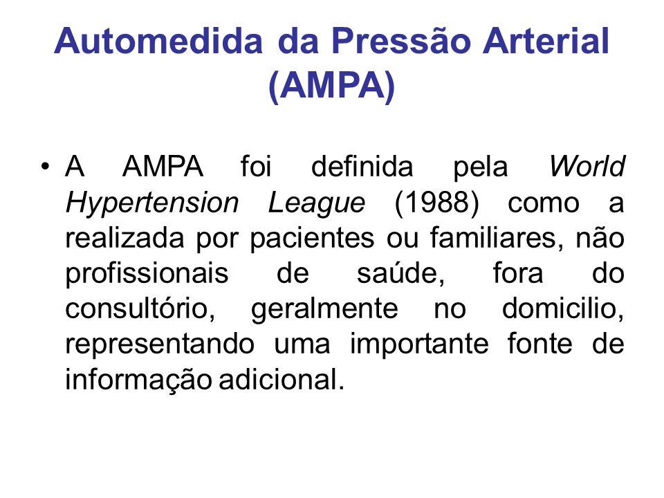 Automedida da Pressão Arterial (AMPA) A AMPA foi definida pela World Hypertension League (1988) como a realizada por pacientes ou familiares, não profissionais de saúde, fora do consultório, geralmente no domicilio, representando uma importante fonte de informação adicional.