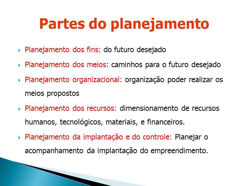  Planejamento dos fins: do futuro desejado  Planejamento dos meios: caminhos para o futuro desejado  Planejamento organizacional: organização poder realizar os meios propostos  Planejamento dos recursos: dimensionamento de recursos humanos, tecnológicos, materiais, e financeiros.