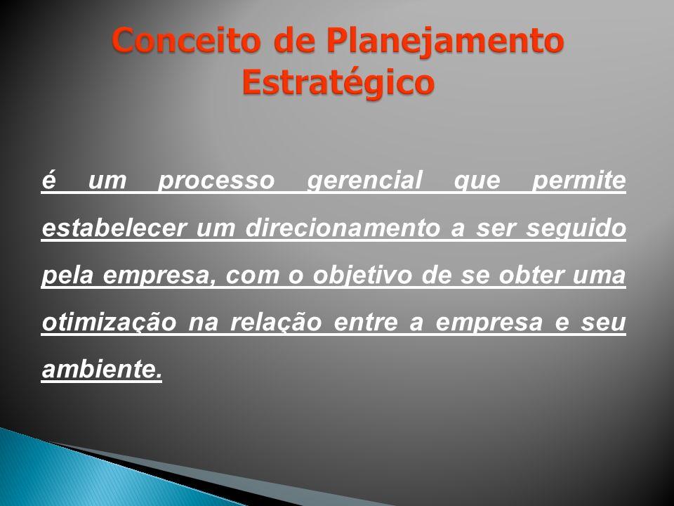 é um processo gerencial que permite estabelecer um direcionamento a ser seguido pela empresa, com o objetivo de se obter uma otimização na relação entre a empresa e seu ambiente.