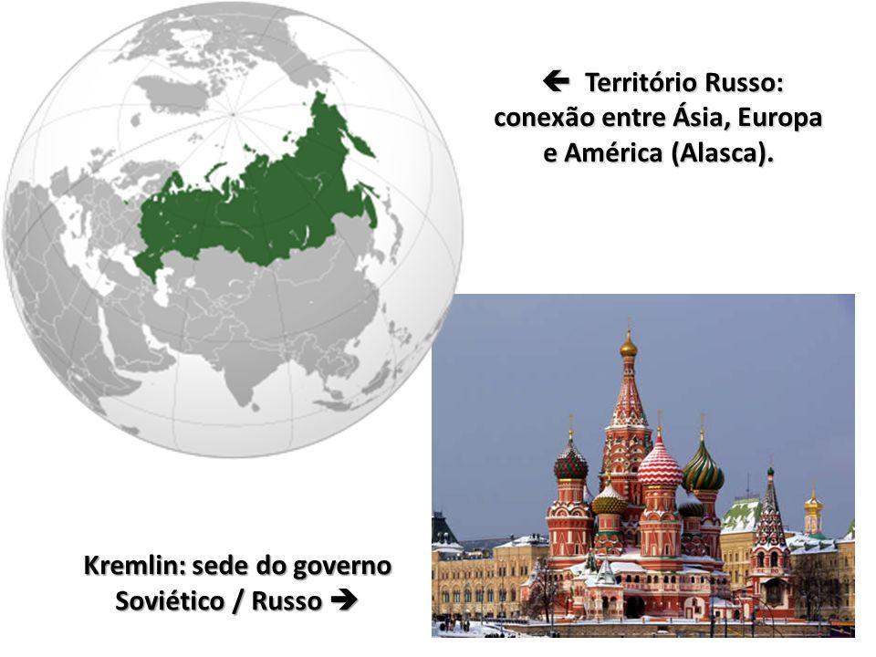 Kremlin: sede do governo Soviético / Russo   Território Russo: conexão entre Ásia, Europa e América (Alasca).