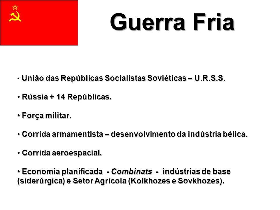 Guerra Fria União das Repúblicas Socialistas Soviéticas – U.R.S.S.