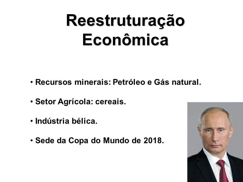 Reestruturação Econômica Recursos minerais: Petróleo e Gás natural.